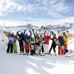 Group skiing Chile
